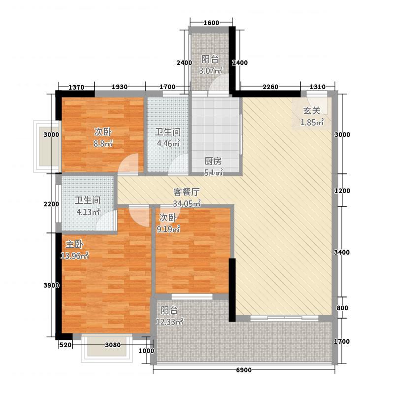 海润盛世豪庭31.62㎡F#D3户型3室2厅2卫