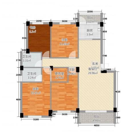 美中城4室1厅2卫1厨132.00㎡户型图
