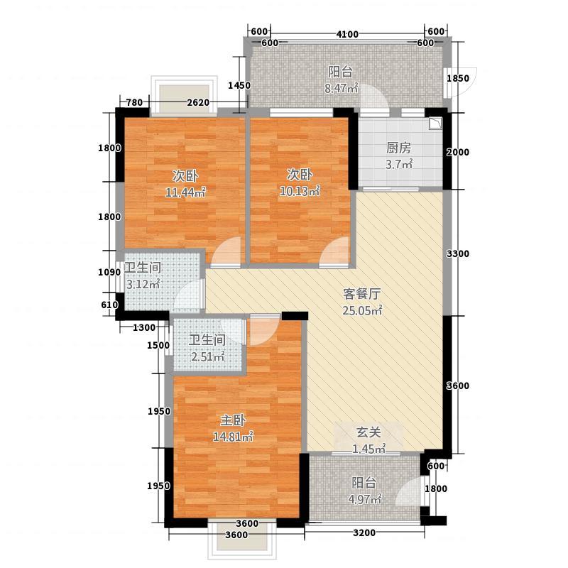 金泰来紫金城22116.73㎡2#02/03单元3室户型3室2厅2卫1厨