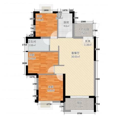 角美万达广场3室1厅1卫1厨73.98㎡户型图