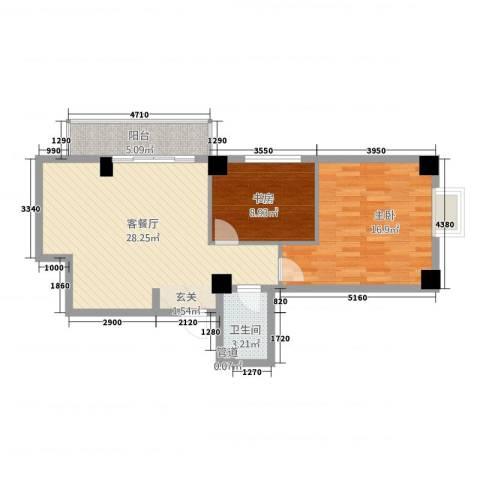 海角八号2室1厅1卫0厨62.44㎡户型图