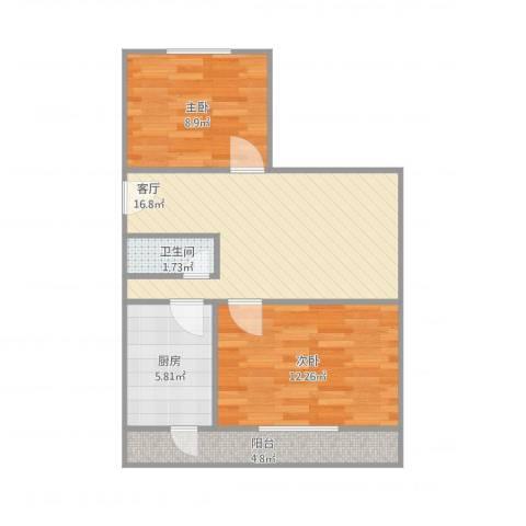 医专家属楼2室1厅1卫1厨69.00㎡户型图