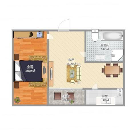 景山小区1室1厅1卫1厨45.34㎡户型图