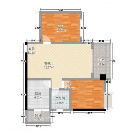 中央广场2室1厅1卫1厨83.00㎡户型图