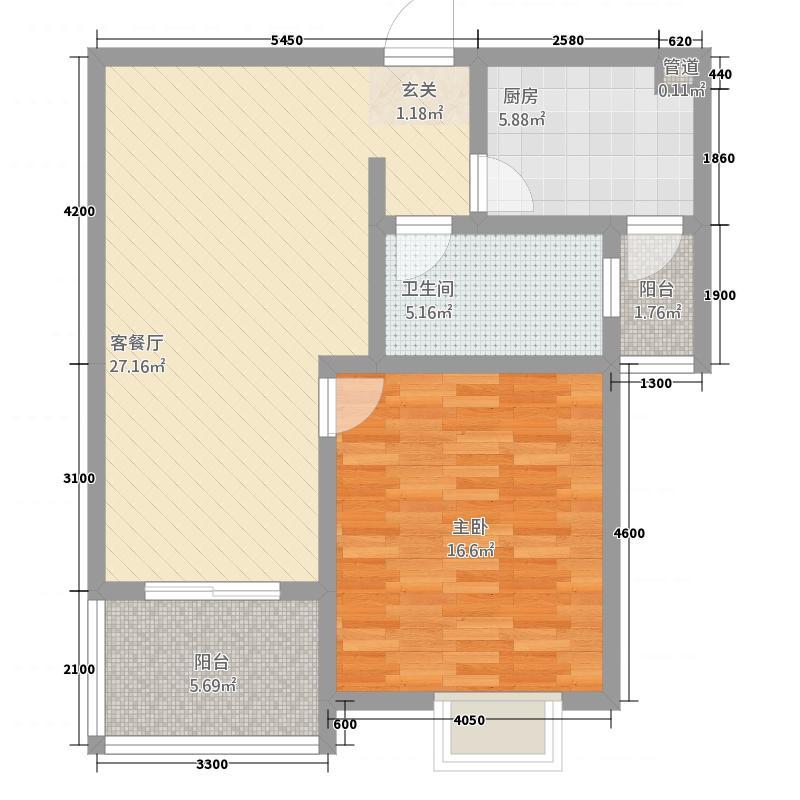 万润・东方银座67.15㎡户型1室2厅1卫1厨