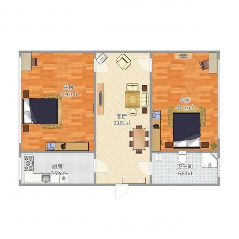 景山小区2室1厅1卫1厨89.09㎡户型图