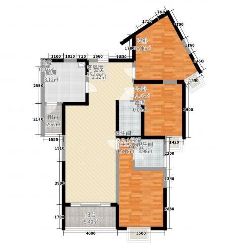 紫薇田园都市3室1厅2卫1厨144.00㎡户型图
