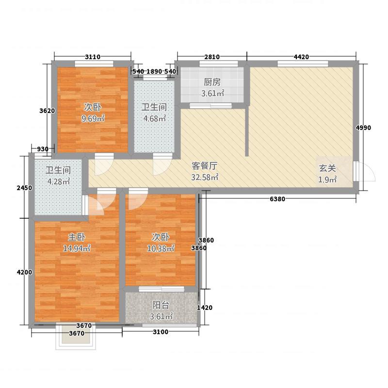金桂湾121.73㎡5户型3室2厅2卫1厨