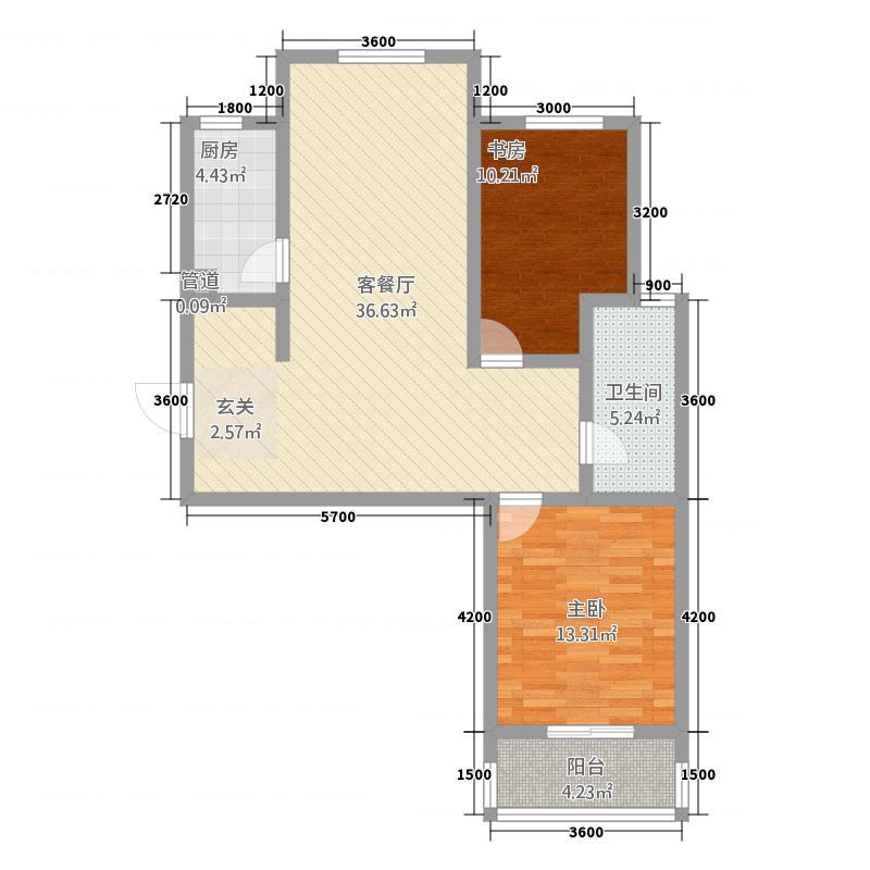 万润・东方银座11.13㎡户型2室2厅1卫1厨