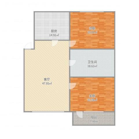 金海花园2室1厅1卫1厨181.00㎡户型图