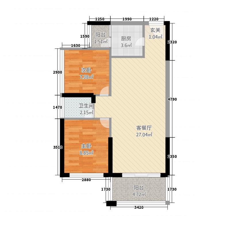 景富时代78.67㎡A02户型2室2厅1卫1厨