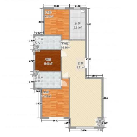 久美家园3室1厅2卫1厨132.00㎡户型图