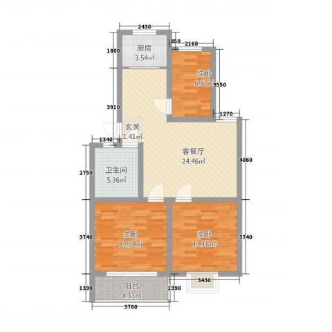 怡景华庭3室1厅1卫1厨67.57㎡户型图