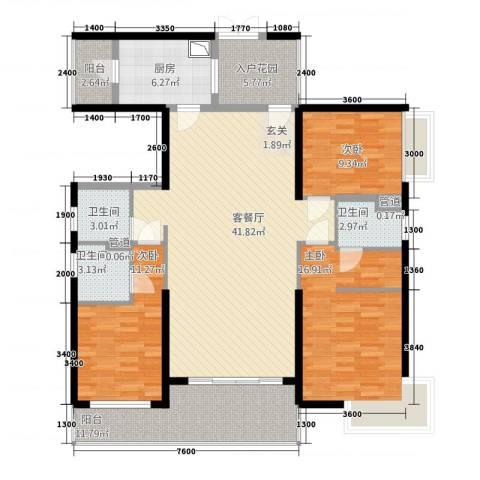 荣盛中央广场3室1厅3卫1厨143.00㎡户型图