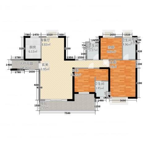 荣盛中央广场3室1厅3卫1厨112.89㎡户型图