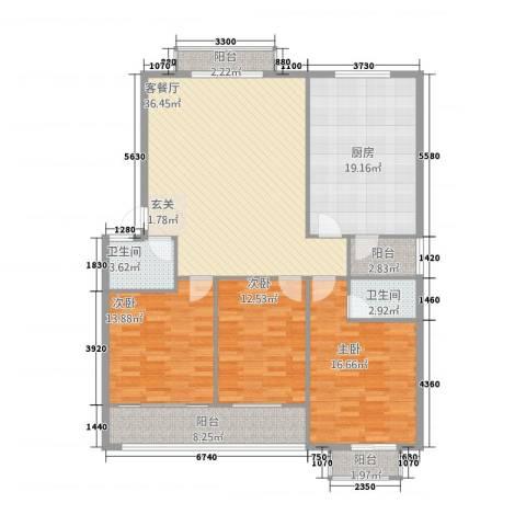 鑫地・阳光城3室1厅2卫1厨159.00㎡户型图