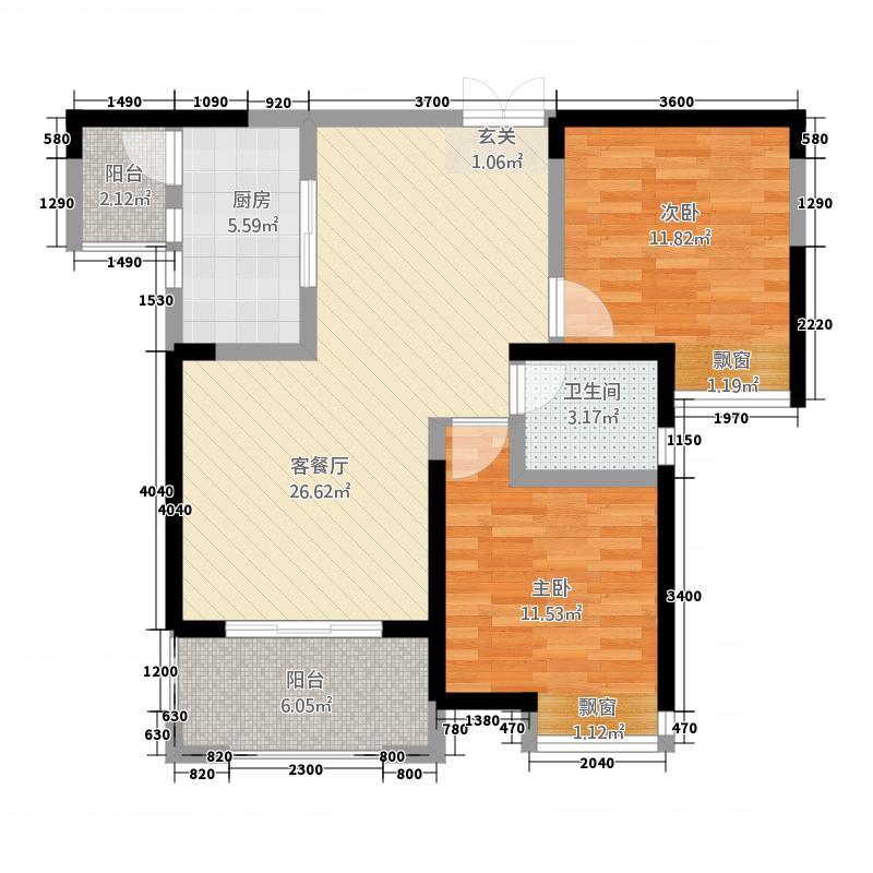 绿地迎江世纪城二期88.10㎡户型2室2厅1卫