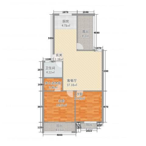 鑫地・阳光城2室1厅1卫0厨114.00㎡户型图