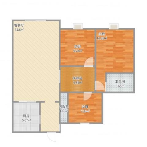 杨凌恒大城3室2厅1卫1厨106.00㎡户型图