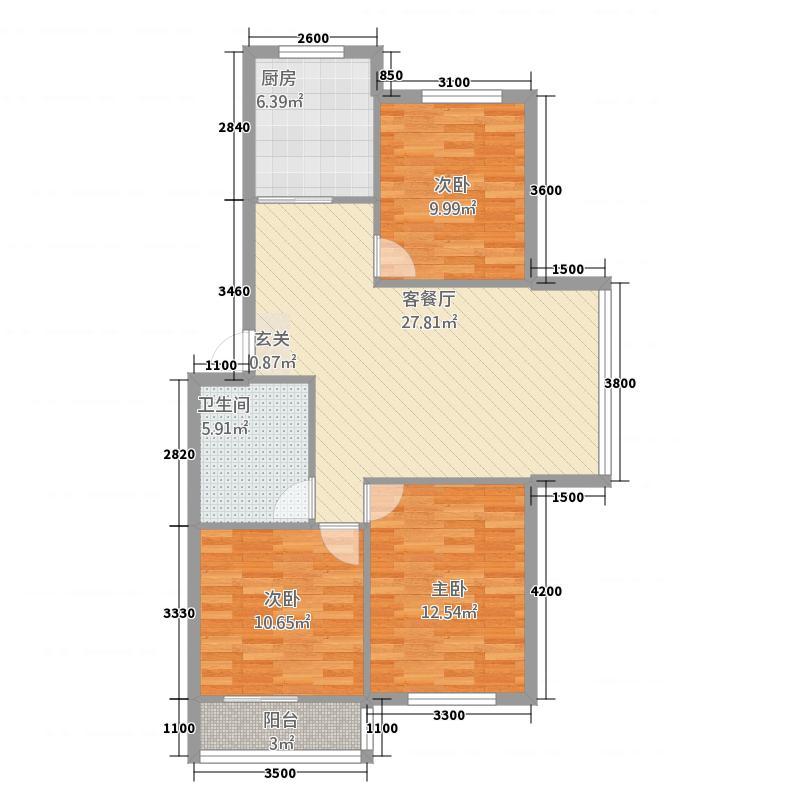 钢达花园12.00㎡户型3室2厅2卫