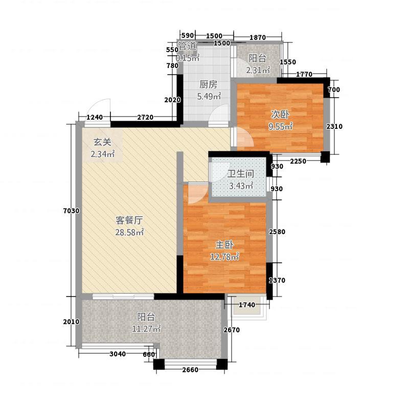 恒业塞纳阳光1.65㎡B1户型2室2厅1卫
