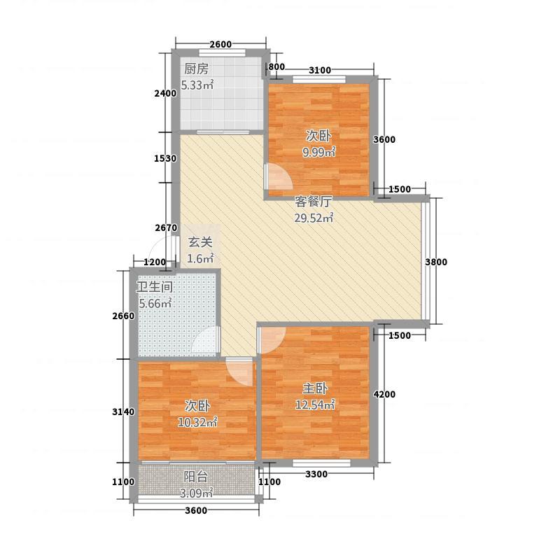 钢达花园6.50㎡户型3室2厅1卫