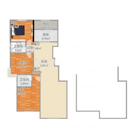 保利拉菲公馆3室1厅2卫1厨125.00㎡户型图