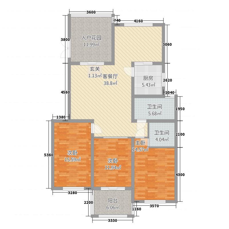 新湖绿园2321131.25㎡A户型3室2厅1卫1厨