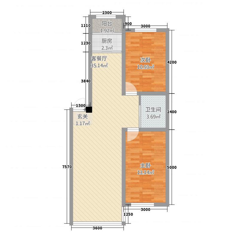 钢达花园85.80㎡户型2室2厅1卫