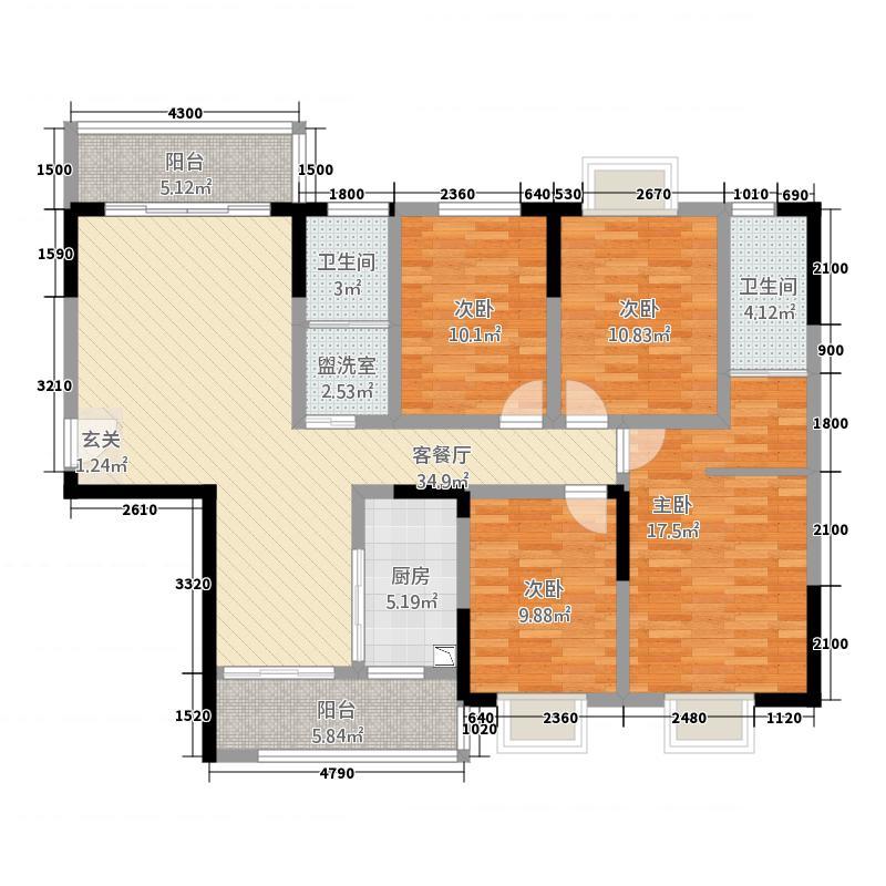 龙华世纪城123.20㎡12#B户型3室2厅2卫1厨
