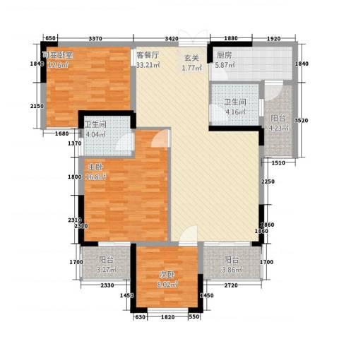 万景城2室1厅2卫1厨136.00㎡户型图