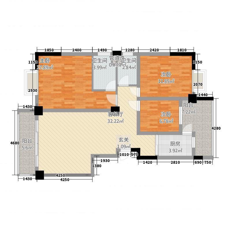 龙门新景134.46㎡D户型3室2厅2卫1厨