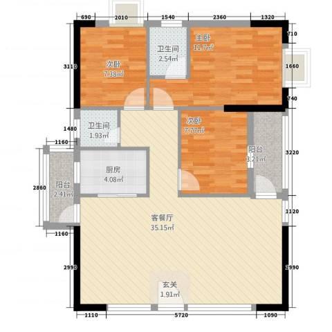 时代名苑3室1厅2卫1厨88.00㎡户型图