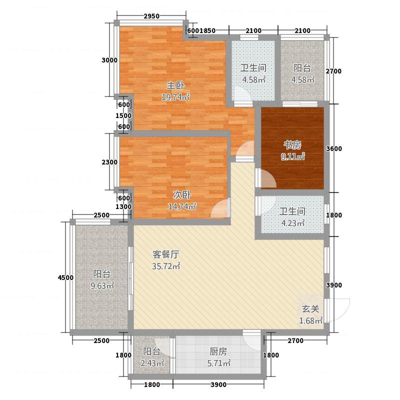 富临原山128.00㎡6、7、8号楼H1、H4户型3室2厅2卫1厨