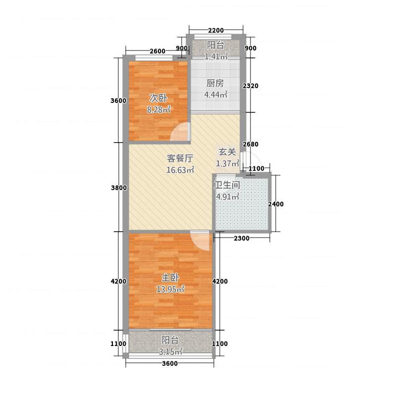钢达花园7.30㎡户型2室1厅1卫