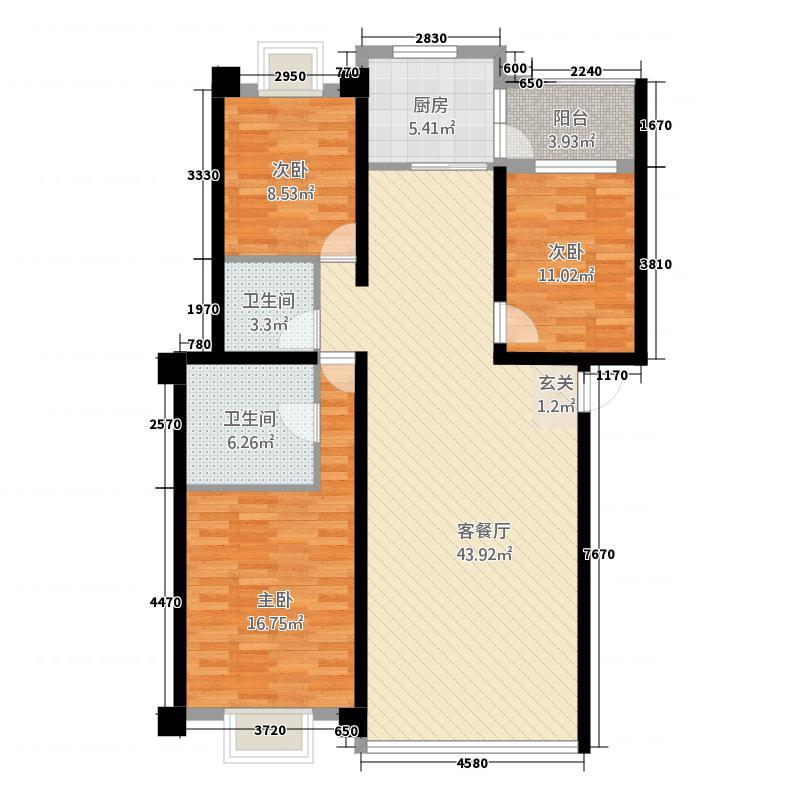 龙潭新村138.38㎡A户型3室2厅2卫1厨