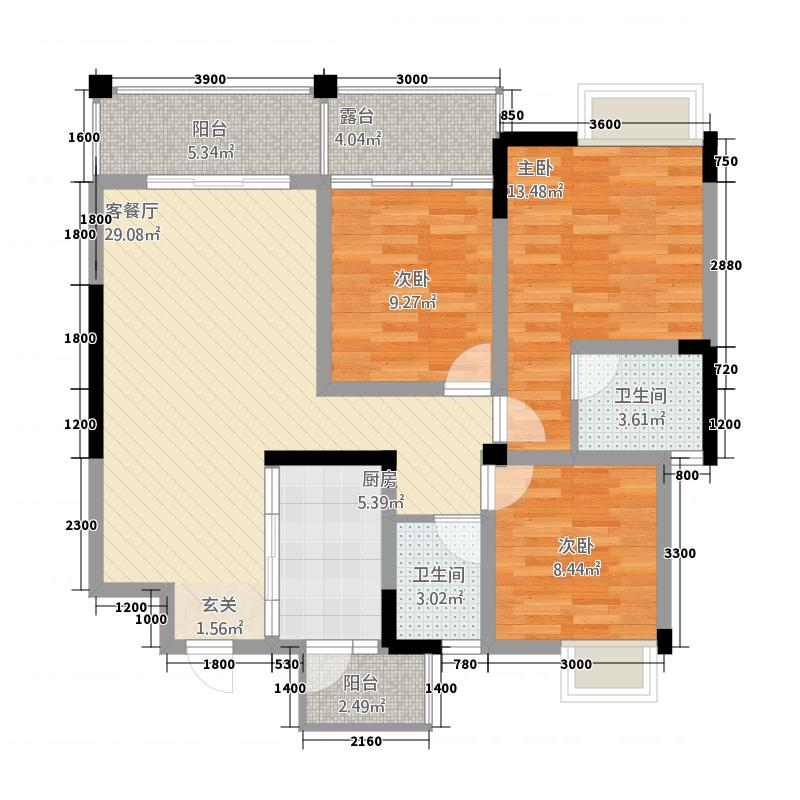 恒业塞纳阳光C4户型3室2厅2卫