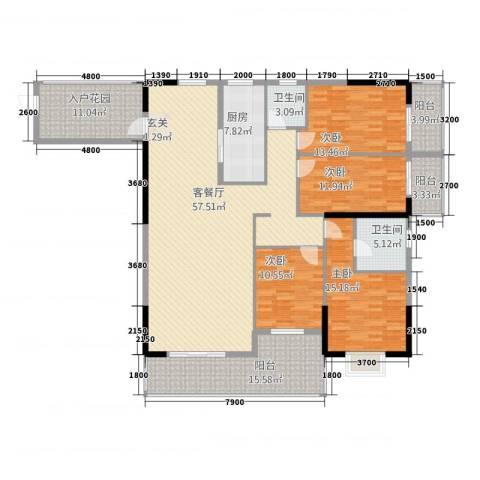 永发大厦4室1厅2卫1厨220.00㎡户型图