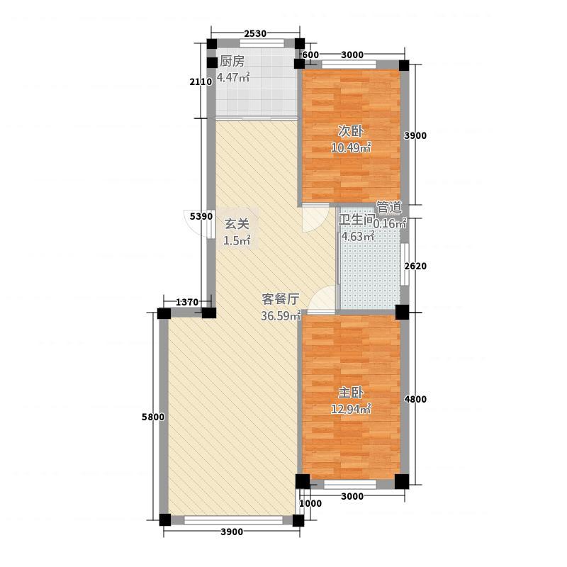 滨河水城8.00㎡89户型2室2厅1卫1厨
