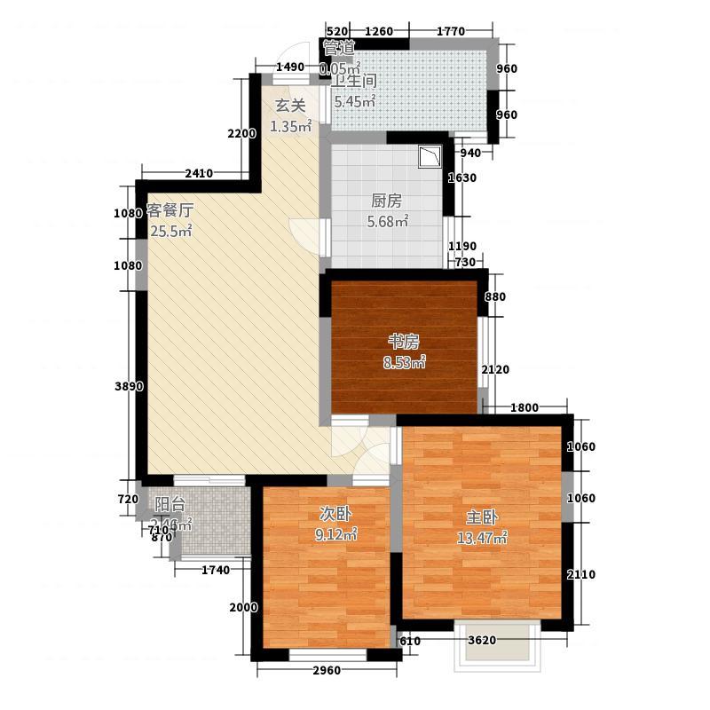瑞闽・第一城二期3.00㎡(2)户型3室2厅1卫1厨