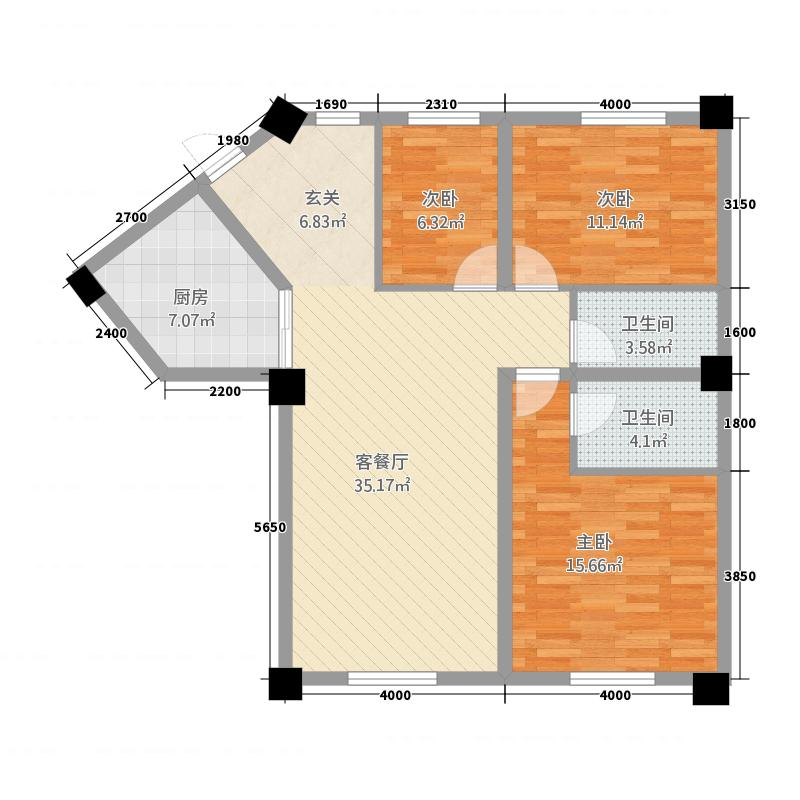 龙华园14.46㎡G户型3室2厅2卫1厨