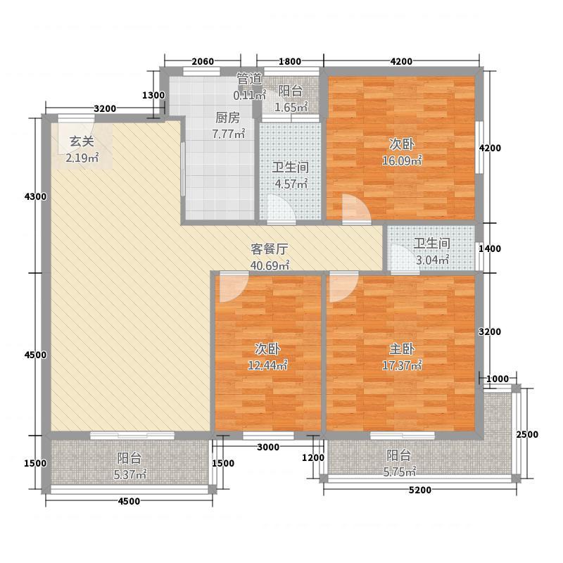 金奥大厦137.80㎡C户型3室2厅2卫1厨