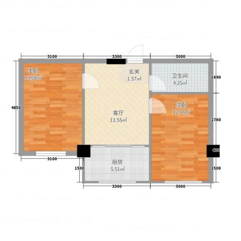 嘉利新城官邸2室1厅1卫1厨69.00㎡户型图