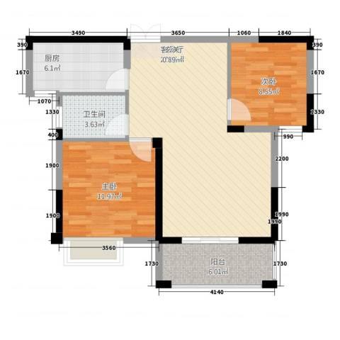 格林公馆2室1厅1卫1厨90.00㎡户型图