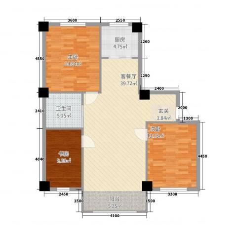 嘉利新城官邸3室1厅1卫1厨119.00㎡户型图