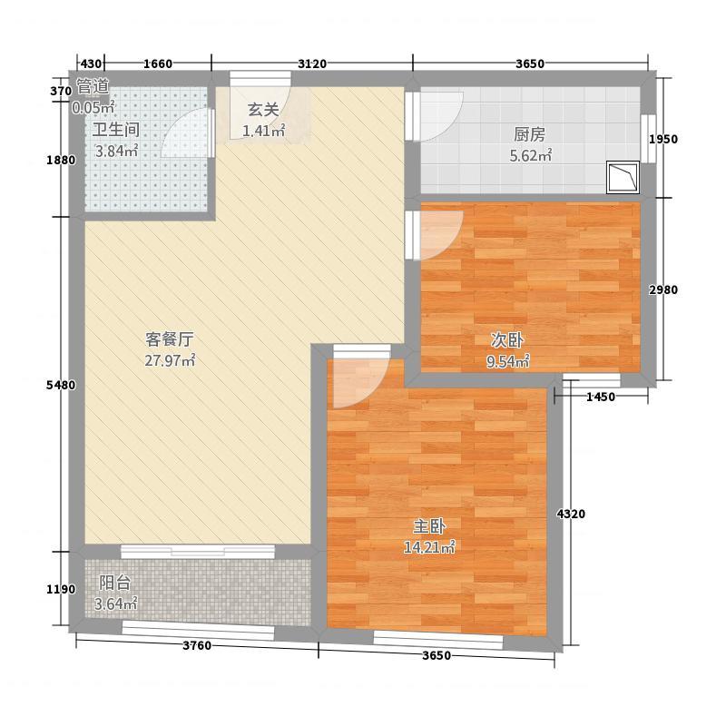 华韵金融时代广场2.58㎡B户型2室2厅1卫1厨