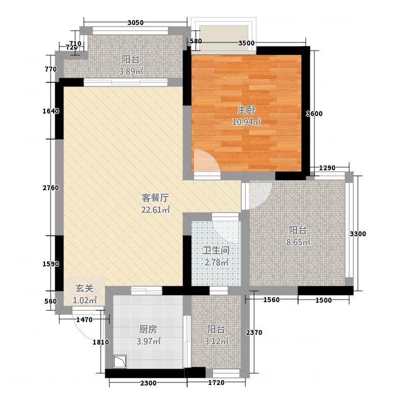 奥韵未来城227.62㎡D2、E2单卫双阳台(户型1室2厅1卫1厨