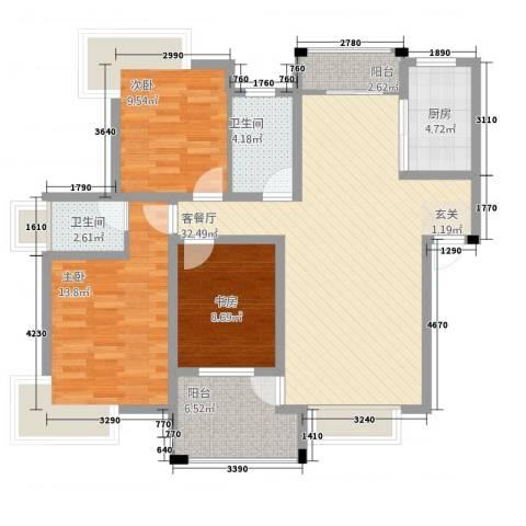 格林公馆3室1厅2卫1厨123.00㎡户型图