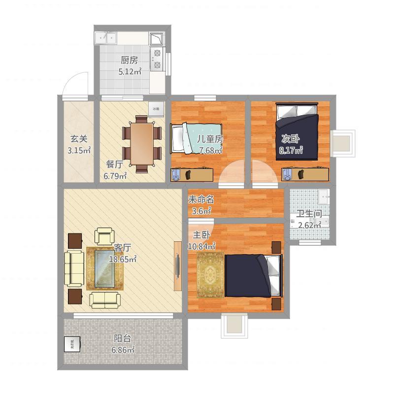 80.42平方三室两厅