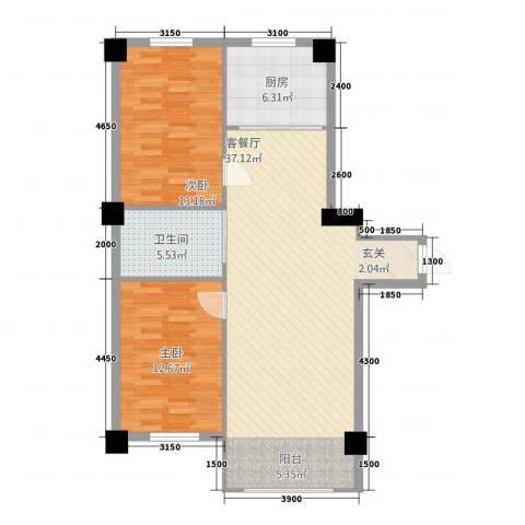 嘉利新城官邸2室1厅1卫1厨103.00㎡户型图